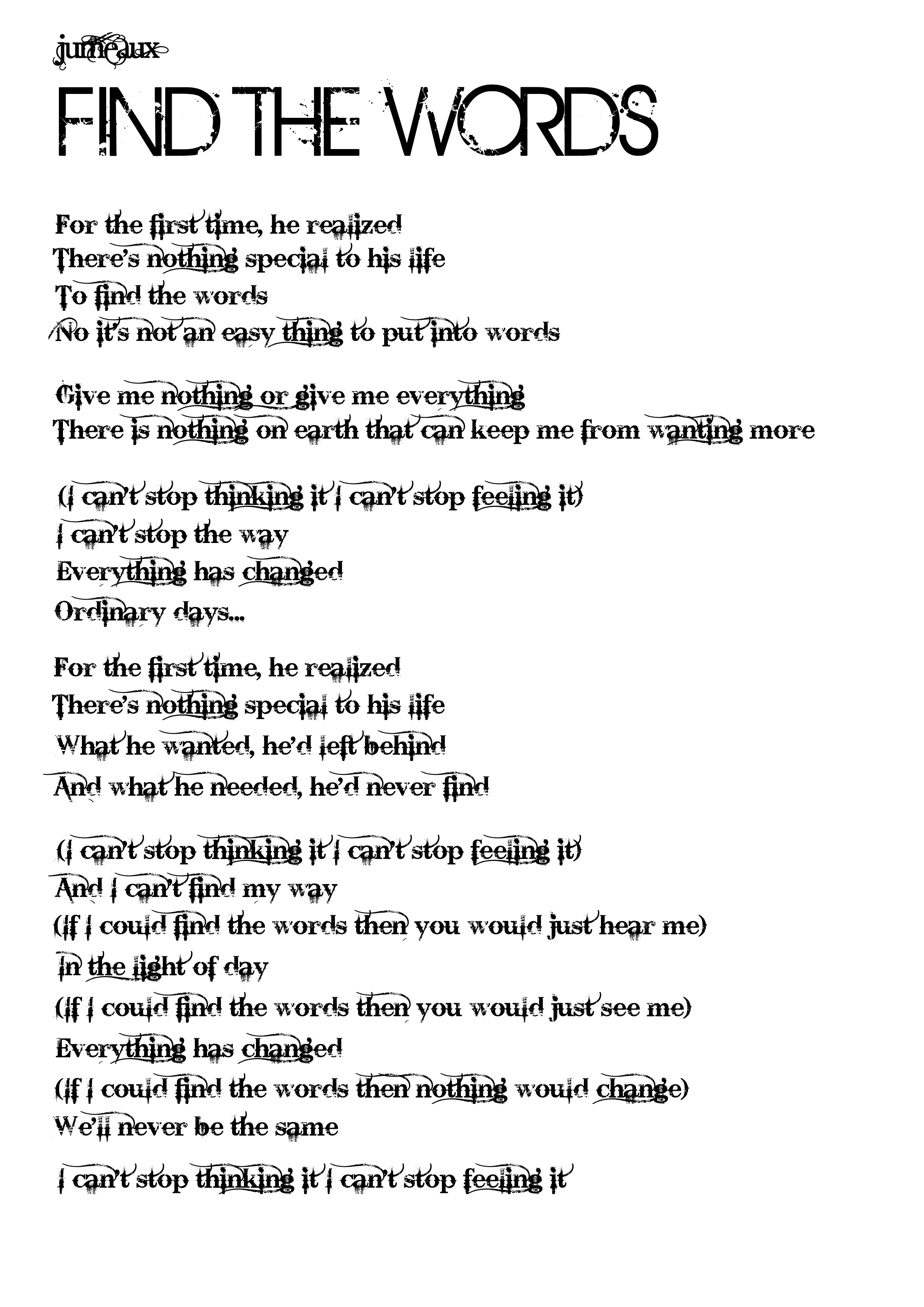 Lyrics to the song